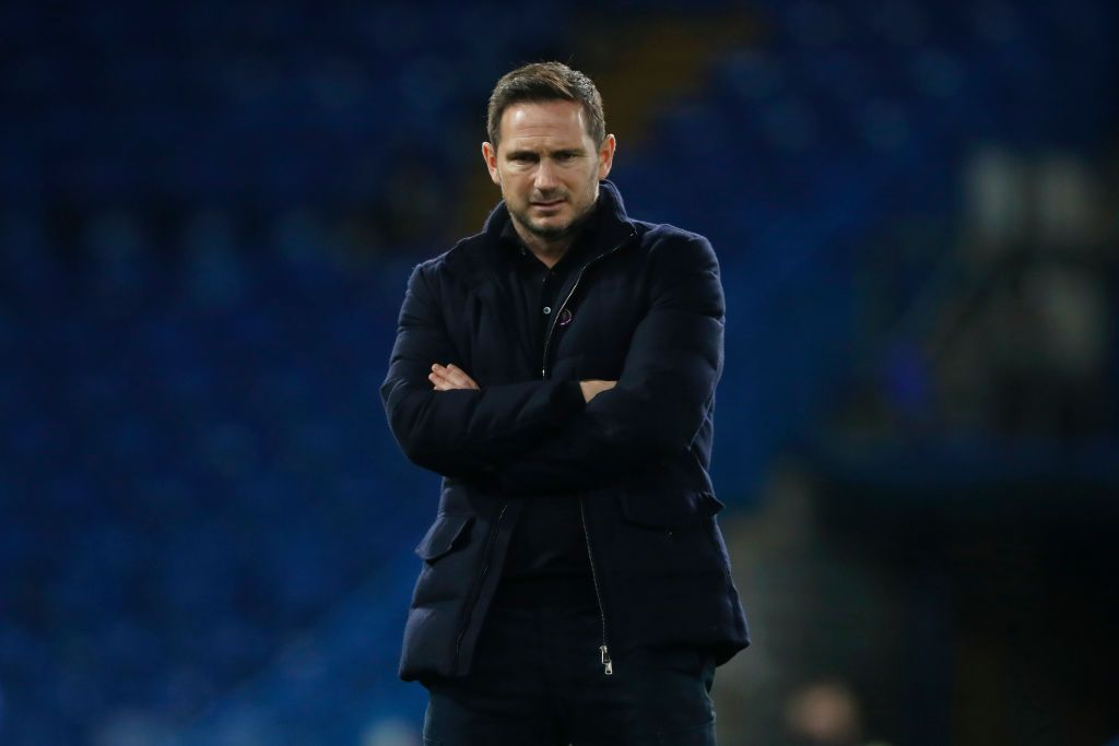 LONDON, ENGLAND - DECEMBER 05: Frank Lampard, Manager of Chelsea looks on as his team warms up ahead of the Premier League match between Chelsea and Leeds United at Stamford Bridge on December 05, 2020 in London, England. A limited number of fans are welcomed back to stadiums to watch elite football across England. This was following easing of restrictions on spectators in tiers one and two areas only. (Photo by Matthew Childs - Pool/Getty Images)