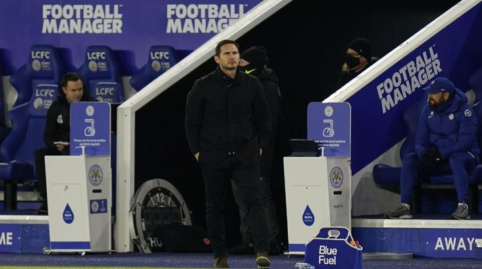 Chelseas head coach Frank Lampard watches his players during the English Premier League soccer match between Leicester City and Chelsea at the King Power Stadium in Leicester, England, Tuesday, Jan. 19, 2021.(Tim Keeton/Pool via AP)