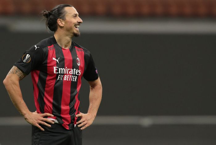 MILAN, ITALY - OCTOBER 29:  Zlatan Ibrahimovic of AC Milan smiles during the UEFA Europa League Group H stage match between AC Milan and AC Sparta Praha at San Siro Stadium on October 29, 2020 in Milan, Italy. (Photo by Emilio Andreoli/Getty Images)