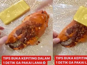 Gokil! Ibu Ini Pecahkan Kepiting Pakai Emas Batangan Rp 900 Juta