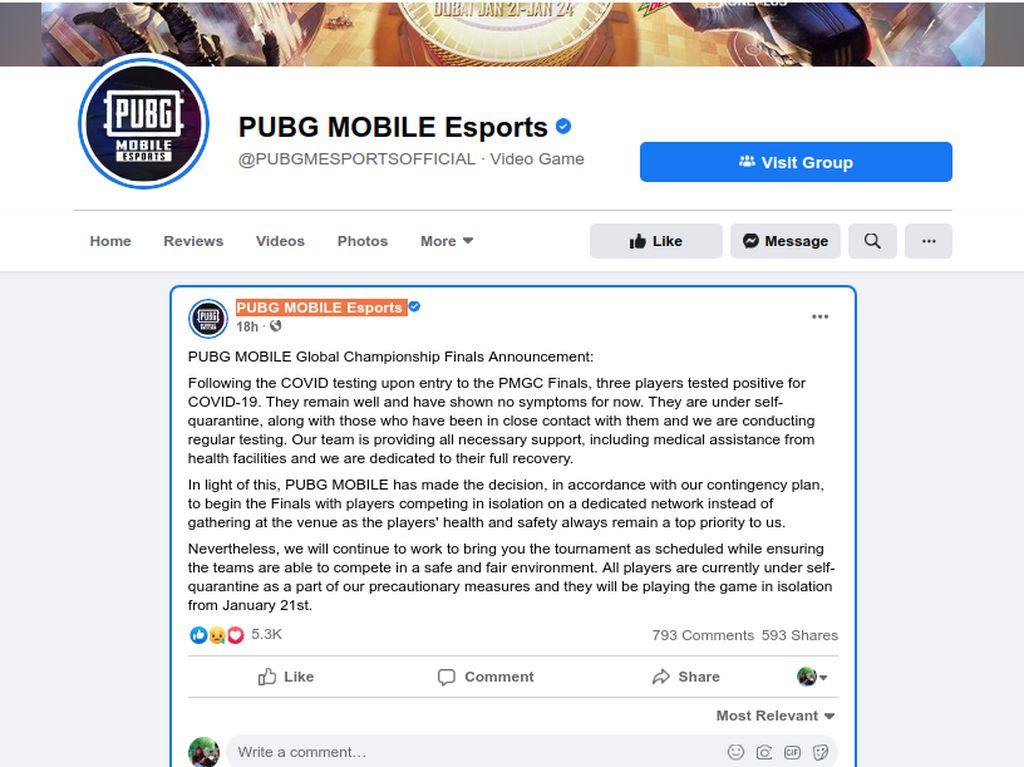 Jelang Final, 3 Pemain Kejuaraan Dunia PUBG Mobile Positif COVID-19