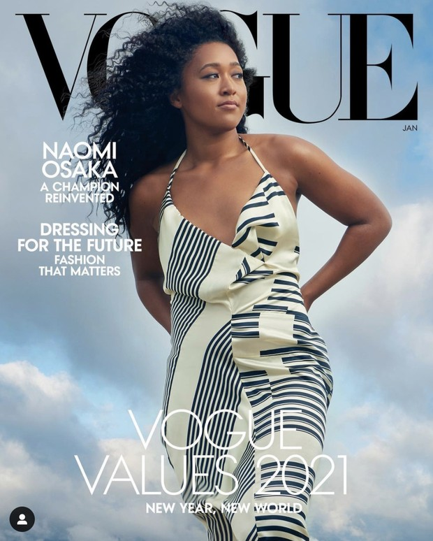 Naomi Osaka sebagai cover Vogue edisi Januari 2021.