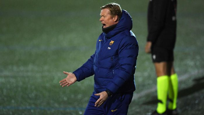 BARCELONA, SPAIN - JANUARY 21: Ronald Koeman, Manager of Barcelona reacts during the Copa del Rey match between Cornella and FC Barcelona on January 21, 2021 in Barcelona, Spain. Sporting stadiums around Spain remain under strict restrictions due to the Coronavirus Pandemic as Government social distancing laws prohibit fans inside venues resulting in games being played behind closed doors. (Photo by Alex Caparros/Getty Images)