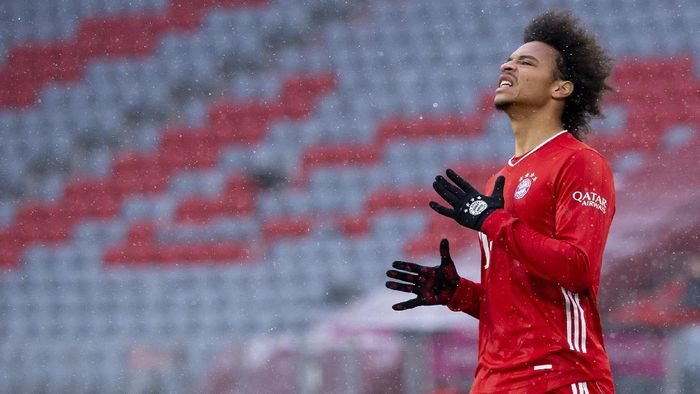 Leroy Sane of Munich reacts during the Bundesliga soccer match between Bayern Munich and SC Freiburg in Munich, Germany, Sunday, Jan. 17, 2021. Photo: (Sven Hoppe/Pool via AP)