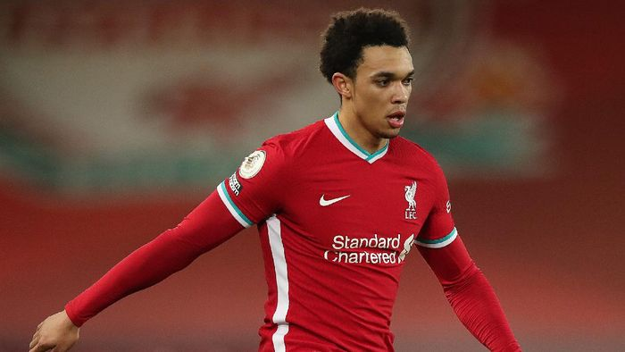 LIVERPOOL, ENGLAND - JANUARY 21:  Trent Alexander-Arnold of Liverpool in action during the Premier League match between Liverpool and Burnley at Anfield on January 21, 2021 in Liverpool, England. Sporting stadiums around the UK remain under strict restrictions due to the Coronavirus Pandemic as Government social distancing laws prohibit fans inside venues resulting in games being played behind closed doors. (Photo by Clive Brunskill/Getty Images)