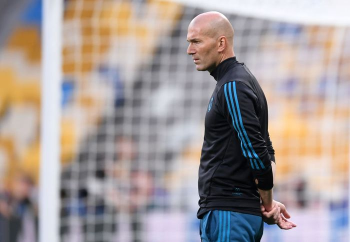 KIEV, UKRAINE - MAY 25:  Zinedine Zidane, Manager of Real Madrid looks on during a Real Madrid training session ahead of the UEFA Champions League Final against Liverpool at NSC Olimpiyskiy Stadium on May 25, 2018 in Kiev, Ukraine.  (Photo by Laurence Griffiths/Getty Images)