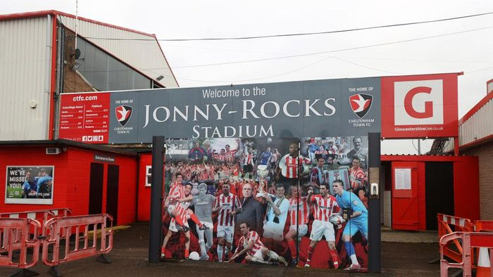 CHELTENHAM, ENGLAND - JANUARY 10: General view outside the stadium prior to the FA Cup Third Round match between Cheltenham Town and Mansfield Town at Jonny Rocks Stadium on January 10, 2021 in Cheltenham, England. Sporting stadiums around England remain under strict restrictions due to the Coronavirus Pandemic as Government social distancing laws prohibit fans inside venues resulting in games being played behind closed doors. (Photo by Eddie Keogh/Getty Images)