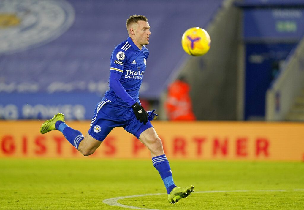 Leicester's Jamie Vardy chases the ball during the English Premier League soccer match between Leicester City and Southampton at the King Power Stadium in Leicester, England, Saturday, Jan. 16, 2021. (Tim Keeton/Pool via AP)