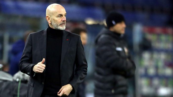 CAGLIARI, ITALY - JANUARY 18: Stefano Pioli coach of Milan looks on during the Serie A match between Cagliari Calcio and AC Milan at Sardegna Arena on January 18, 2021 in Cagliari, Italy. (Photo by Enrico Locci/Getty Images)