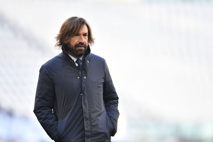TURIN, ITALY - JANUARY 24:   Juventus head coach Andrea Pirlo looks on during the Serie A match between Juventus and Bologna FC at Allianz Stadium on January 24, 2021 in Turin, Italy.  (Photo by Valerio Pennicino/Getty Images )