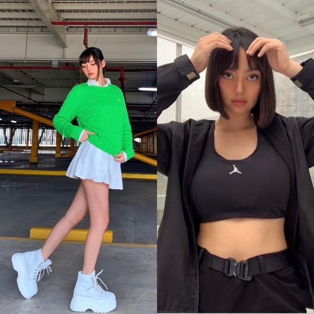 Tampilan mencolok Nika dengan menggunakan warna neon dan statement accessory.