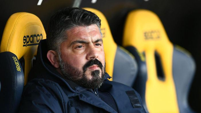 VERONA, ITALY - JANUARY 24: Gennaro Gattuso head coach of SSC Napoli looks on during the Serie A match between Hellas Verona FC and SSC Napoli at Stadio Marcantonio Bentegodi on January 24, 2021 in Verona, Italy. (Photo by Alessandro Sabattini/Getty Images)