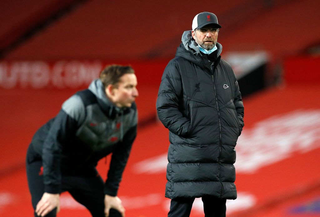 MANCHESTER, ENGLAND - JANUARY 24: Jurgen Klopp, Manager of Liverpool looks on ahead of The Emirates FA Cup Fourth Round match between Manchester United and Liverpool at Old Trafford on January 24, 2021 in Manchester, England. Sporting stadiums around the UK remain under strict restrictions due to the Coronavirus Pandemic as Government social distancing laws prohibit fans inside venues resulting in games being played behind closed doors. (Photo by Phil Noble - Pool/Getty Images)