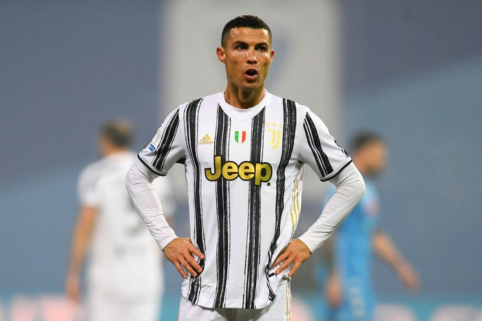 REGGIO NELLEMILIA, ITALY - JANUARY 20: Cristiano Ronaldo of Juventus reacts during the Italian PS5 Supercup match between Juventus and SSC Napoli at Mapei Stadium - Citta del Tricolore on January 20, 2021 in Reggio nellEmilia, Italy. Sporting stadiums around Italy remain under strict restrictions due to the Coronavirus Pandemic as Government social distancing laws prohibit fans inside venues resulting in games being played behind closed doors. (Photo by Claudio Villa/Getty Images)