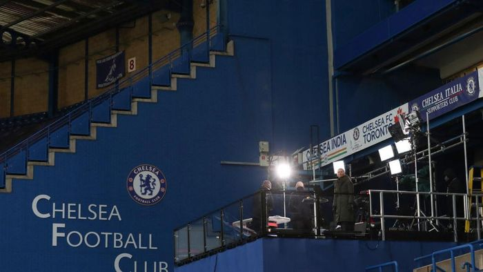LONDON, ENGLAND - JANUARY 24: General view of the television platform during The Emirates FA Cup Fourth Round match between Chelsea and Luton Town at Stamford Bridge on January 24, 2021 in London, England. Sporting stadiums around the UK remain under strict restrictions due to the Coronavirus Pandemic as Government social distancing laws prohibit fans inside venues resulting in games being played behind closed doors. (Photo by Catherine Ivill/Getty Images)