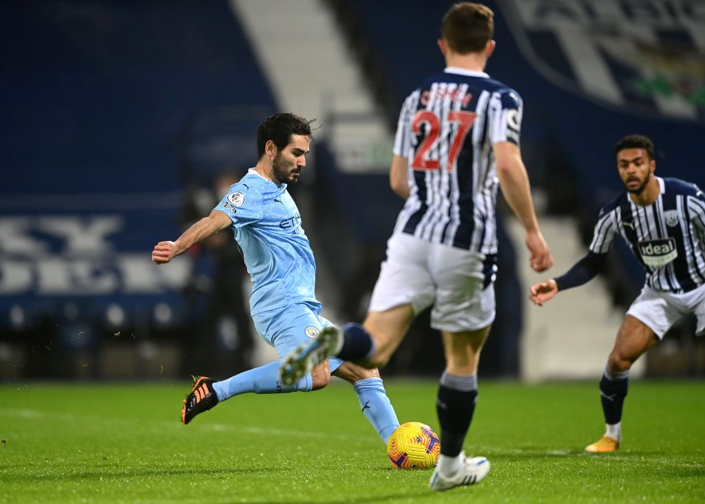 WEST BROMWICH, ENGLAND - JANUARY 26: Ilkay Guendogan of Manchester City celebrates after scoring their team's firs goal  during the Premier League match between West Bromwich Albion and Manchester City at The Hawthorns on January 26, 2021 in West Bromwich, England. Sporting stadiums around the UK remain under strict restrictions due to the Coronavirus Pandemic as Government social distancing laws prohibit fans inside venues resulting in games being played behind closed doors. (Photo by Nick Potts - Pool/Getty Images)
