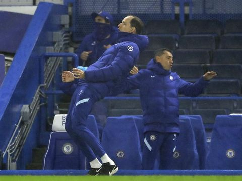 Chelsea's head coach Thomas Tuchel reacts during the English Premier League soccer match between Chelsea and Wolverhampton Wanderers at Stamford Bridge Stadium in London, England, Wednesday, Jan. 27, 2021. (Richard Heathcote/Pool via AP)