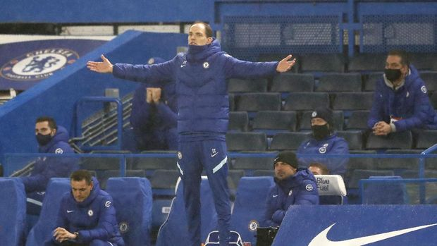Chelsea's new head coach Thomas Tuchel reacts during the English Premier League soccer match between Chelsea and Wolverhampton Wanderers at Stamford Bridge Stadium in London, England, Wednesday, Jan. 27, 2021. (AP Photo/Frank Augstein)