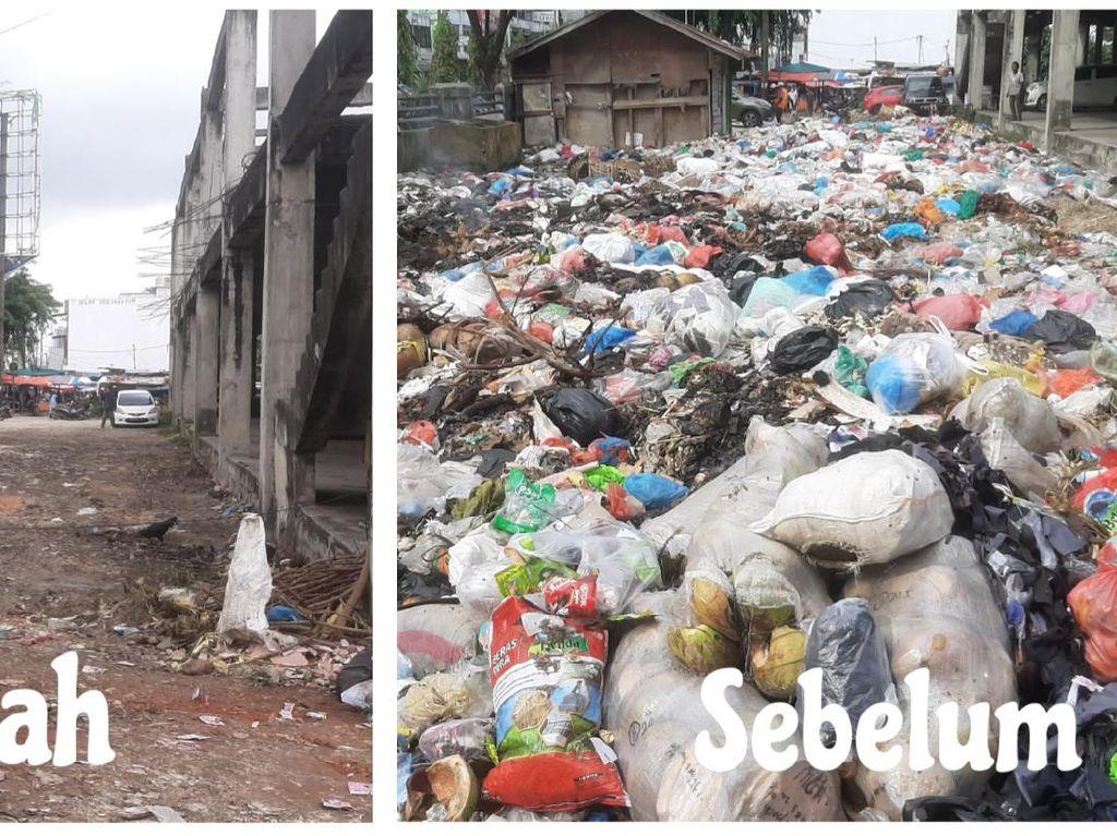 Hampir Sebulan Tak Diangkut, Sampah di Pasar Pekanbaru Mulai Dibersihkan