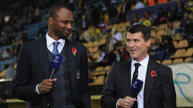 VILLARREAL, SPAIN - NOVEMBER 02:  ITV guests Patrick Viera and Roy Keane (R) give their views before the UEFA Champions League Group A match between Villareal CF and Manchester City at El Madrigal on November 2, 2011 in Villarreal, Spain.  (Photo by Michael Regan/Getty Images)