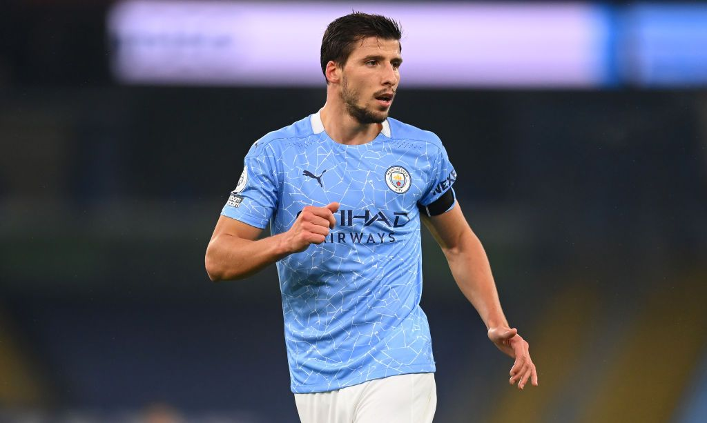 MANCHESTER, ENGLAND - NOVEMBER 28: Ruben Dias of Manchester City reacts during the Premier League match between Manchester City and Burnley at Etihad Stadium on November 28, 2020 in Manchester, England. Sporting stadiums around the UK remain under strict restrictions due to the Coronavirus Pandemic as Government social distancing laws prohibit fans inside venues resulting in games being played behind closed doors. (Photo by Michael Regan/Getty Images)