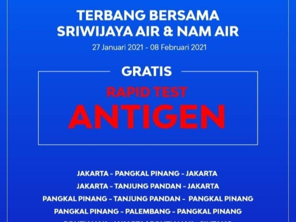 Sriwijaya Air Gratiskan Rapid Test Antigen Buat Penumpang
