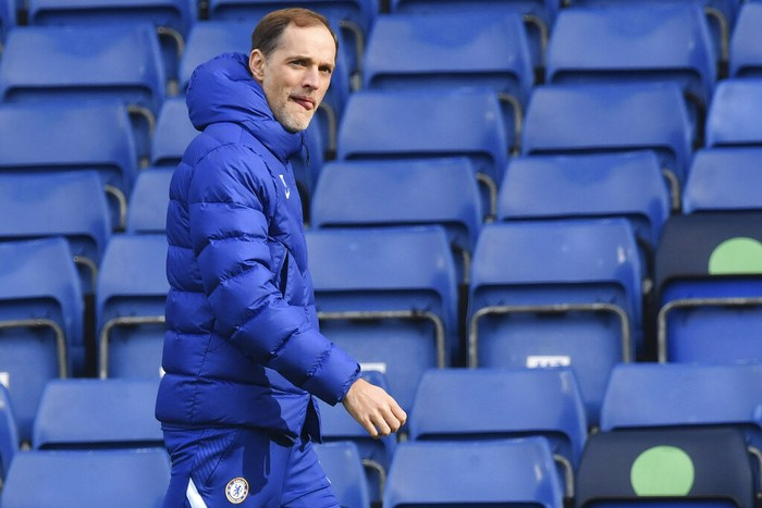 Chelseas head coach Thomas Tuchel stands prior too the start of the English Premier League soccer match between Chelsea and Burnley at Stamford Bridge Stadium in London, England, Sunday, Jan. 31, 2021. (Justin Tallis/Pool Via AP)