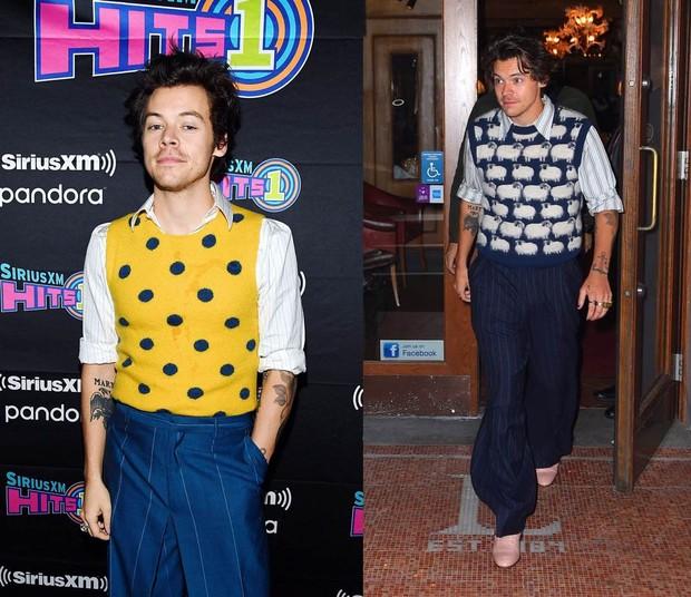 Harry tampil dengan tampilan sweater vest terbaiknya, yaitu rompi dari Lanvin berhias domba dan rompi lainnya dalam balutan warna kuning dengan motif polkadot berwarna biru