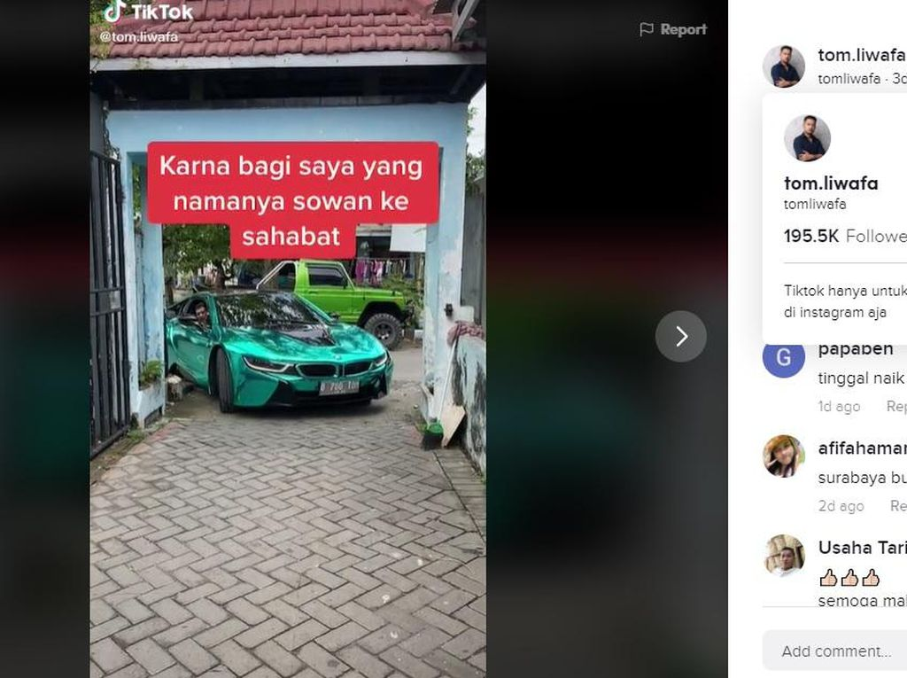 Crazy Rich Surabaya Bawa Mobil Wewah Rp 3,5 M Masuk Gang, Netizen Khawatir Lecet