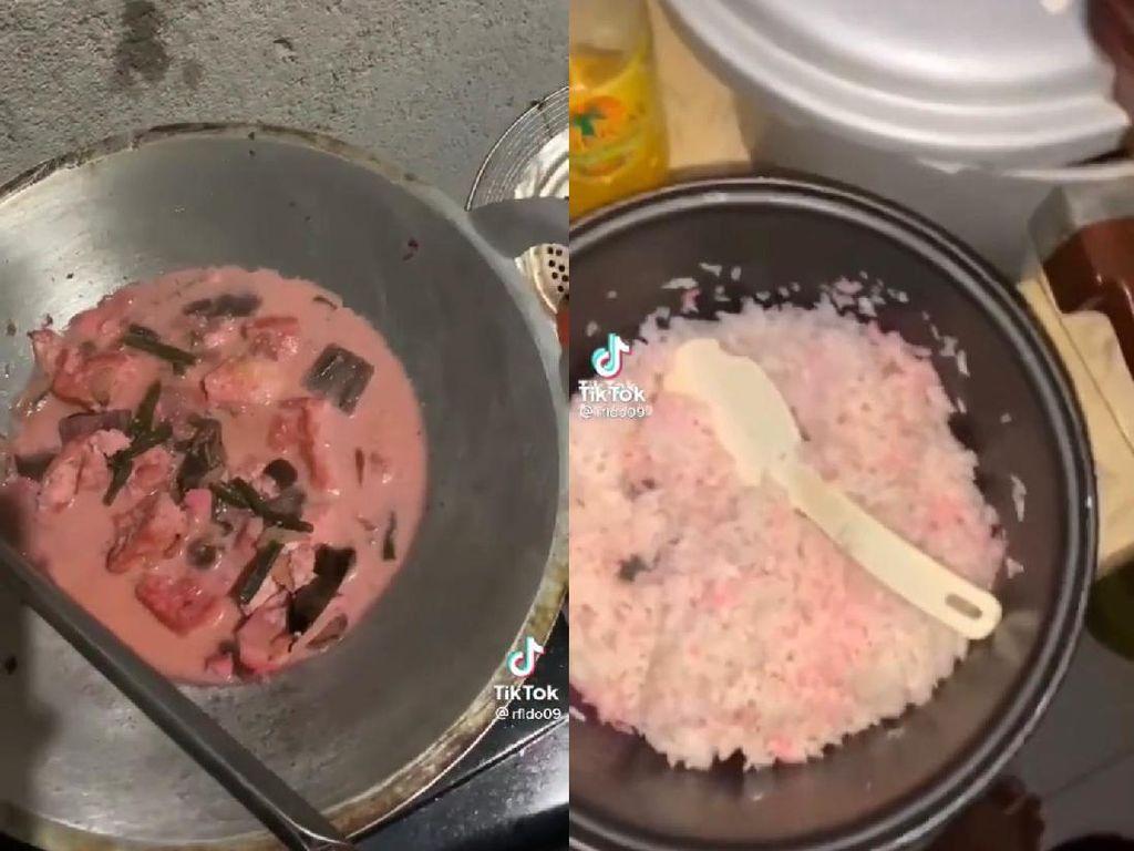 Unik! Satu Keluarga Ini Hobi Masak Nasi hingga Sayur Tahu Warna Pink