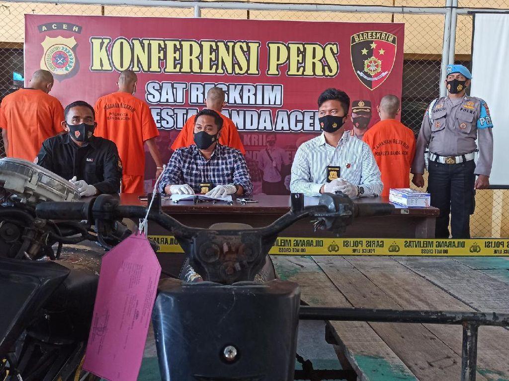 Curi Becak-Motor di 17 Lokasi, 3 Pria di Banda Aceh Ditangkap Polisi