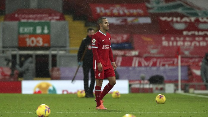 Liverpools Thiago leaves the pitch at the end of the English Premier League soccer match between Liverpool and Brighton at Anfield stadium, in Liverpool, England, Wednesday, Feb. 3, 2021. Brighton won 1-0. (Clive Brunskill/Pool via AP)