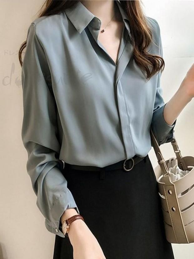 Ide outfit interview kerja, bawahan hitam dengan kemeja atau blouse marna nudeFoto:pinterest/doresuwe_official