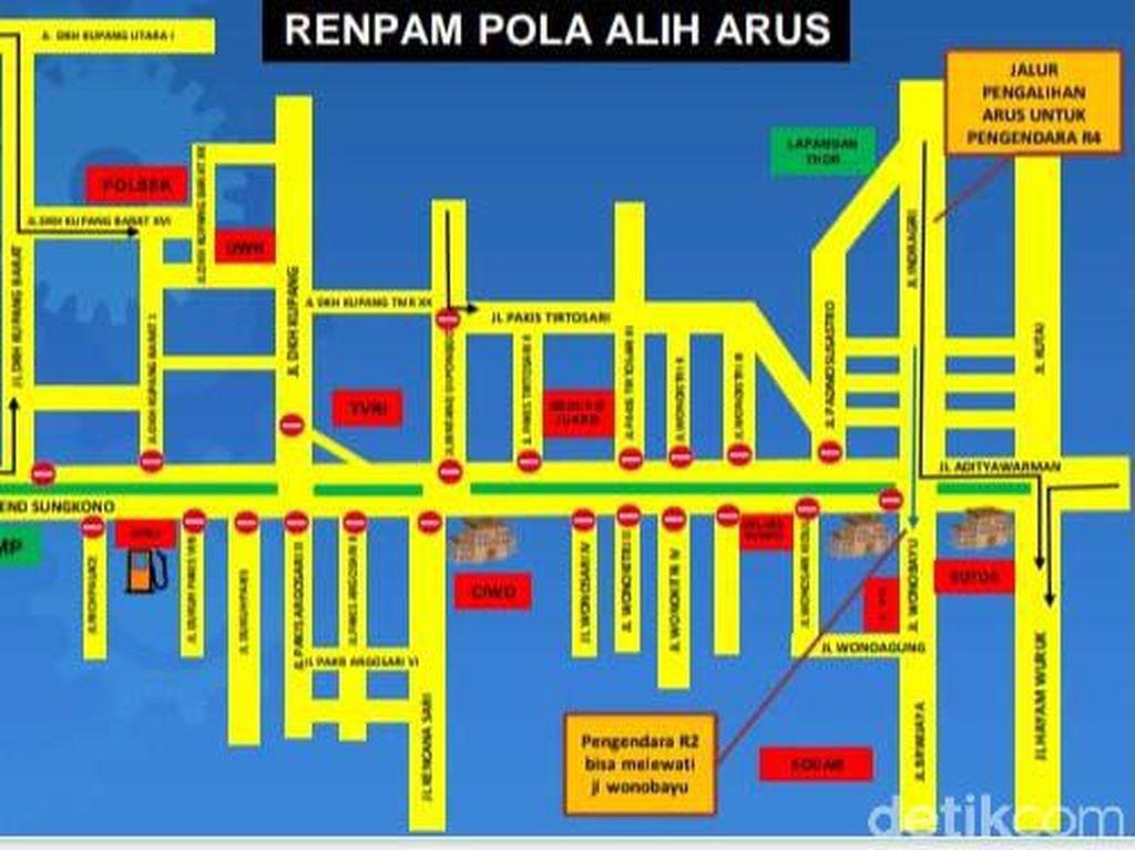 Ini Rekayasa Lalin PPKM Surabaya di Jalan Mayjen Sungkono
