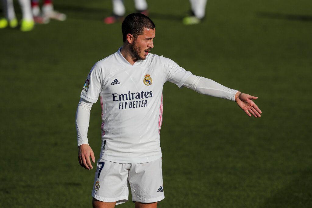Real Madrid's Eden Hazard gestures during the Spanish La Liga soccer match between Real Madrid and Levante at the Alfredo Di Stefano stadium in Madrid, Spain, Saturday, Jan. 30, 2021. (AP Photo/Manu Fernandez)