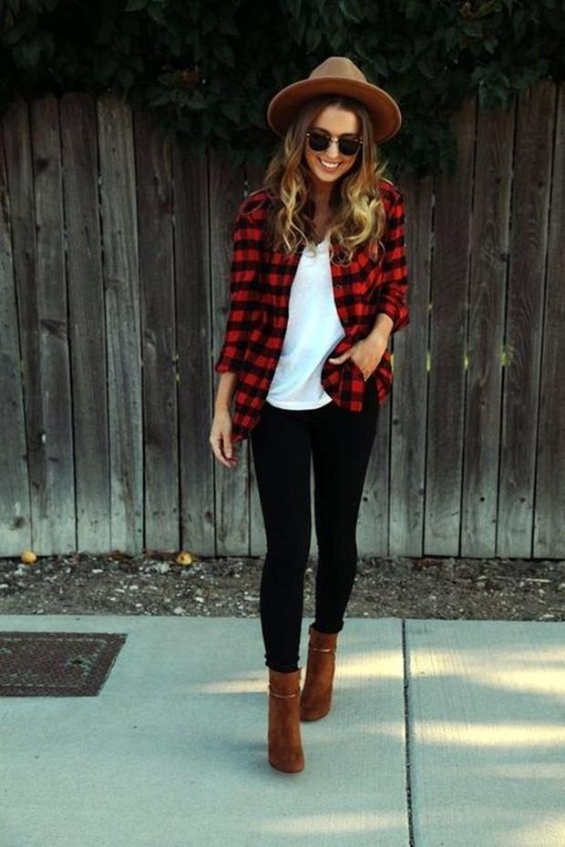 Flannel Shirt Pilihan untuk Outfit di Musim Hujan (pinterest.com/kellynlegath)