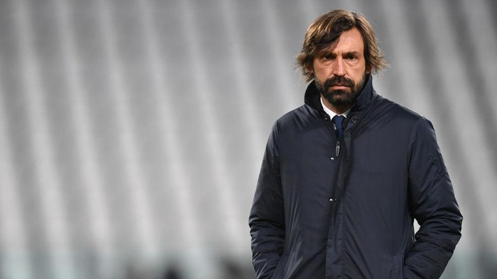 TURIN, ITALY - FEBRUARY 06: Andrea Pirlo, Head Coach of Juventus looks on during the warm up prior to the Serie A match between Juventus and AS Roma at Allianz Stadium on February 06, 2021 in Turin, Italy. Sporting stadiums around Italy remain under strict restrictions due to the Coronavirus Pandemic as Government social distancing laws prohibit fans inside venues resulting in games being played behind closed doors. (Photo by Valerio Pennicino/Getty Images)