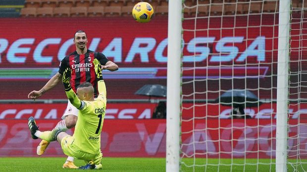 AC Milan's Zlatan Ibrahimovic scores his side's opening goal during the Serie A soccer match between AC Milan and Crotone at the San Siro stadium in Milan, Italy, Sunday, Feb. 7, 2021. (Spada/LaPresse via AP)
