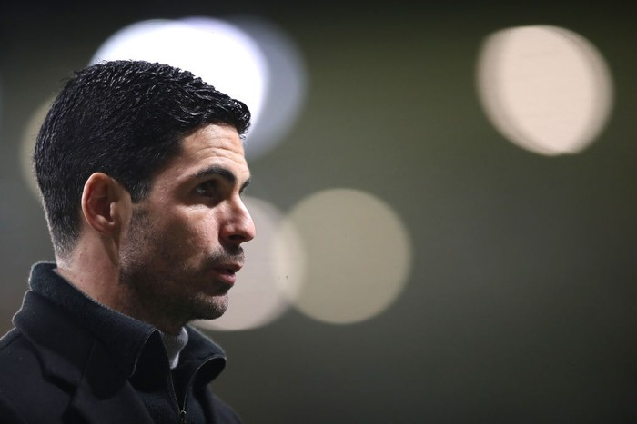 WOLVERHAMPTON, ENGLAND - FEBRUARY 02: Mikel Arteta, Manager of Arsenal looks on after the Premier League match between Wolverhampton Wanderers and Arsenal at Molineux on February 02, 2021 in Wolverhampton, England. Sporting stadiums around the UK remain under strict restrictions due to the Coronavirus Pandemic as Government social distancing laws prohibit fans inside venues resulting in games being played behind closed doors. (Photo by Nick Potts - Pool/Getty Images)