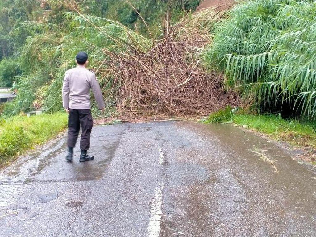 Jalan Akses Utama Banjarnegara-Dieng Putus Tertimbun Longsor