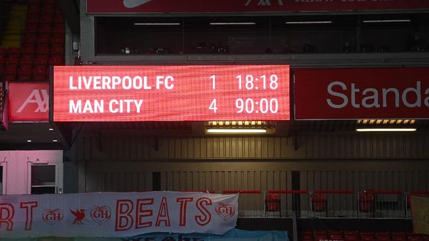 Soccer Football - Premier League - Liverpool v Manchester City - Anfield, Liverpool, Britain - February 7, 2021 General view of the scoreboard inside the stadium Pool via REUTERS/Laurence Griffiths EDITORIAL USE ONLY. No use with unauthorized audio, video, data, fixture lists, club/league logos or 'live' services. Online in-match use limited to 75 images, no video emulation. No use in betting, games or single club /league/player publications.  Please contact your account representative for further details.