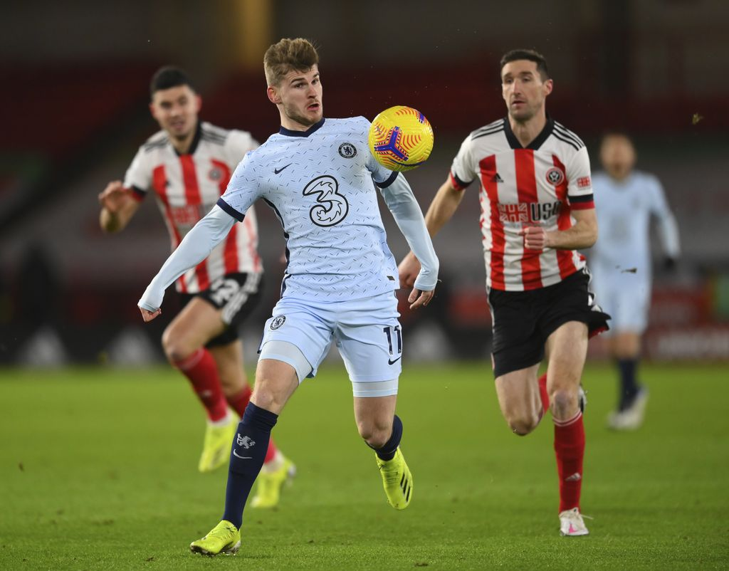 Chelsea's Timo Werner controls the ball during the English Premier League soccer match between Sheffield United and Chelsea at Bramall Lane stadium in Sheffield, England, Sunday, Feb. 7, 2021. (Clive Mason/ Pool via AP)