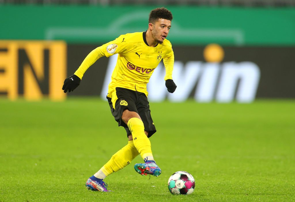 DORTMUND, GERMANY - FEBRUARY 02: Jadon Sancho of Borussia Dortmund reacts during the DFB Cup Round of Sixteen match between Borussia Dortmund and SC Paderborn 07 at Signal Iduna Park on February 02, 2021 in Dortmund, Germany. Sporting stadiums around Germany remain under strict restrictions due to the Coronavirus Pandemic as Government social distancing laws prohibit fans inside venues resulting in games being played behind closed doors. (Photo by Friedemann Vogel - Pool/Getty Images)