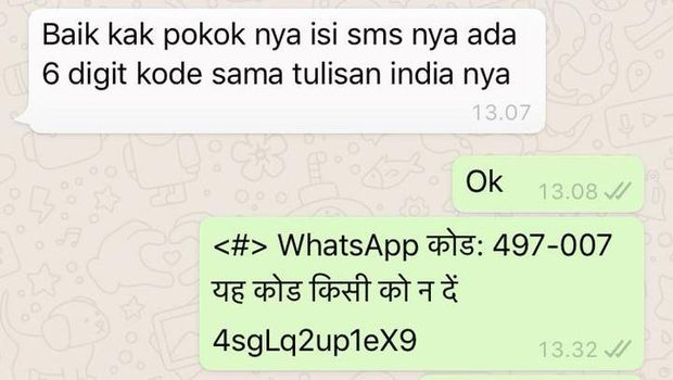 Modus penipuan whatsapp minta kode OTP pakai tulisan india
