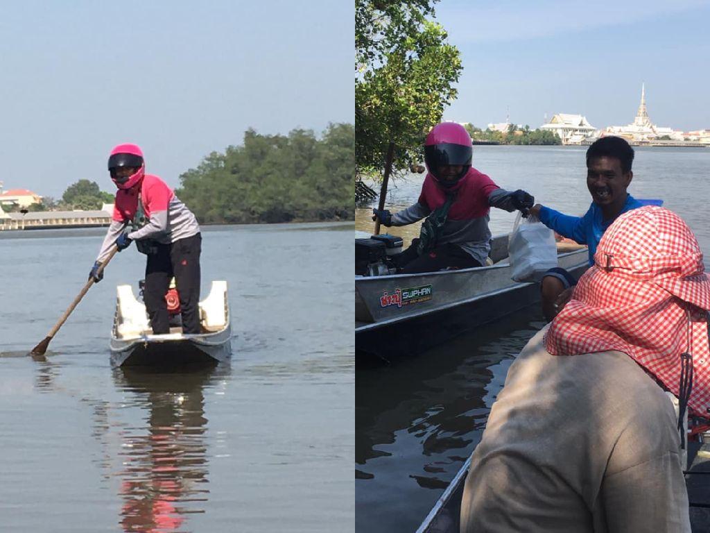 Gokil! Pengantar Makanan Ini Nyebrang Sungai Naik Perahu demi Antar Pesanan
