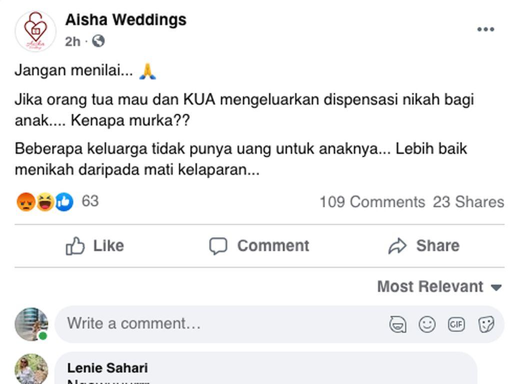 Heboh Aisha Weddings, Kenali Dampak Buruk Menikah di Usia 12 Tahun