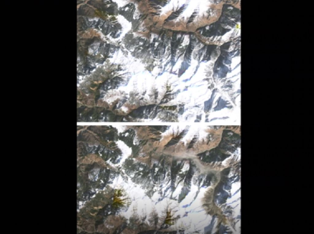 Penampakan Gletser Himalaya Sebelum dan Sesudah Longsor