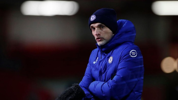 SHEFFIELD, ENGLAND - FEBRUARY 07: Thomas Tuchel, Manager of Chelsea speaks to the media following the Premier League match between Sheffield United and Chelsea at Bramall Lane on February 07, 2021 in Sheffield, England. Sporting stadiums around the UK remain under strict restrictions due to the Coronavirus Pandemic as Government social distancing laws prohibit fans inside venues resulting in games being played behind closed doors. (Photo by Lee Smith - Pool/Getty Images)