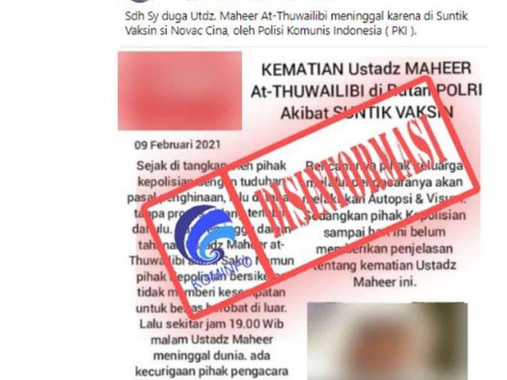 Hoax! Kominfo Bantah Rumor Ustadz Maaher Meninggal karena Divaksin Sinovac