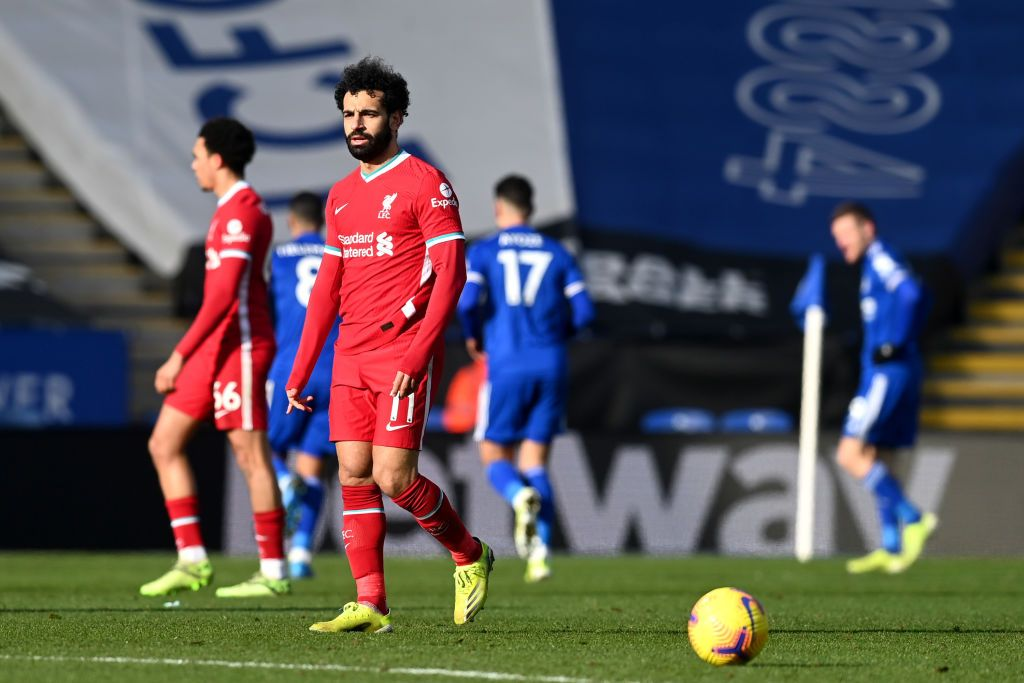 LEICESTER, ENGLAND - FEBRUARY 13: Mohamed Salah of Liverpool looks dejected after his team concede during the Premier League match between Leicester City and Liverpool at The King Power Stadium on February 13, 2021 in Leicester, England. Sporting stadiums around the UK remain under strict restrictions due to the Coronavirus Pandemic as Government social distancing laws prohibit fans inside venues resulting in games being played behind closed doors. (Photo by Michael Regan/Getty Images)